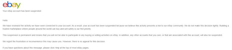 ebay  永久サスペンド