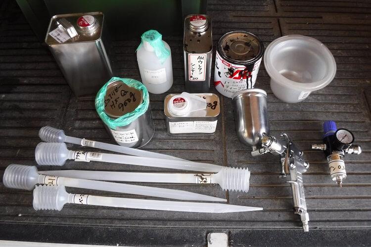 2液ウレタン塗装の道具